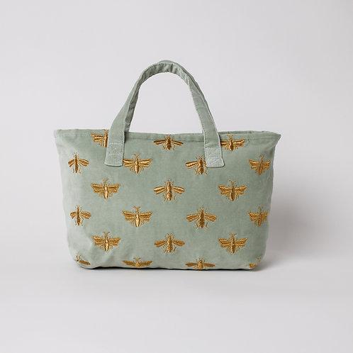 Sage Green Bee Velvet Day Bag