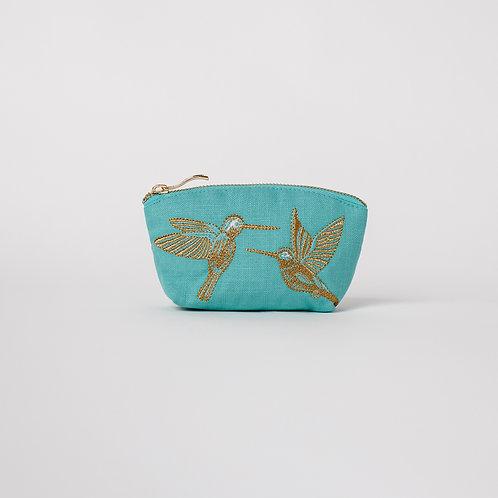 Turquoise Hummingbird Coin Purse
