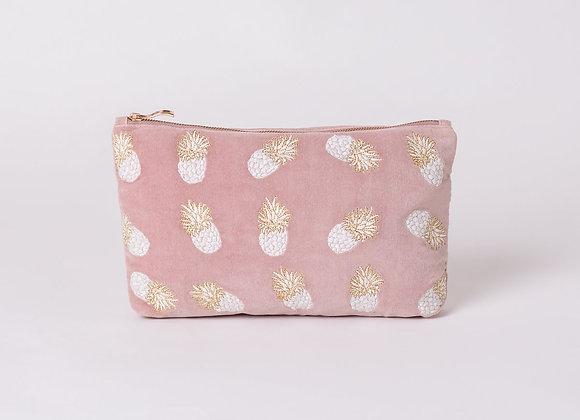 Pineapple Mauve Velvet Everyday Pouch