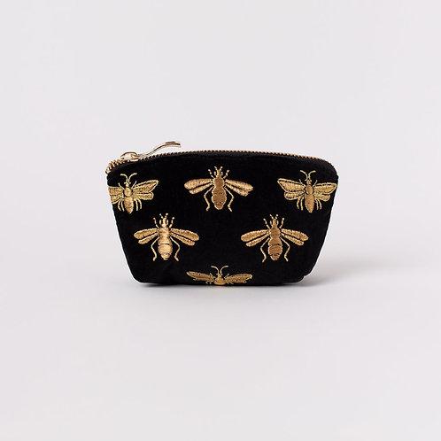 Bee Black Velvet Coin Purse