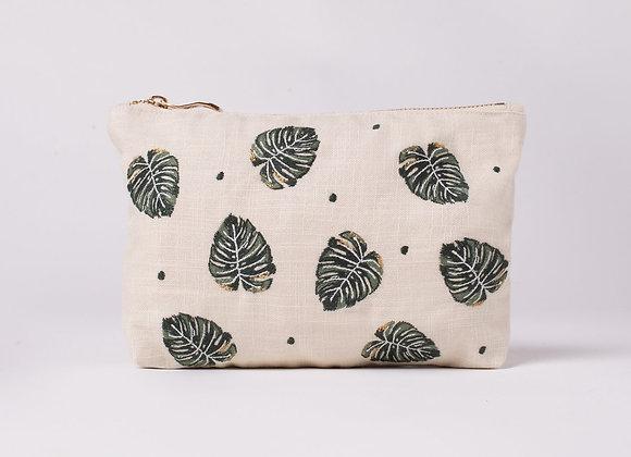 Jungle Leaf Natural Makeup Bag