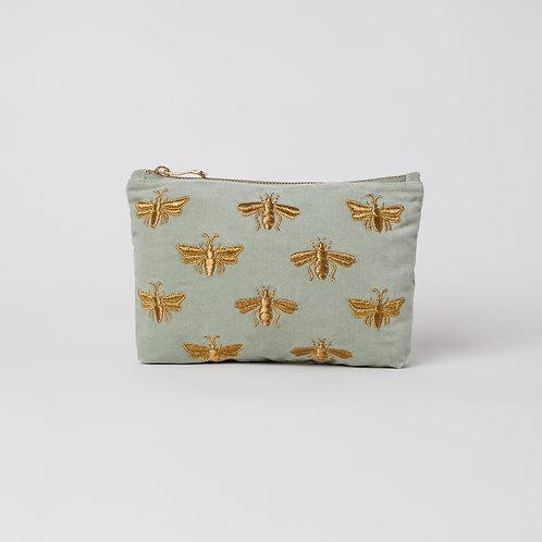 Bumblebee Sage Velvet Makeup Bag