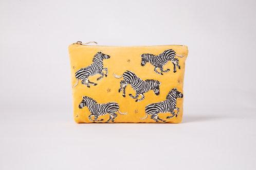 Zebra Mustard Velvet Makeup Bag