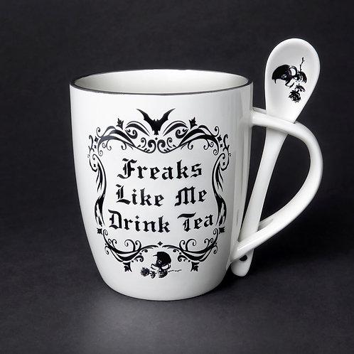 Freaks Like Me Drink Tea Cup and Spoon