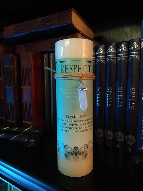 Crystal Energy Pendant Candle RESPECT