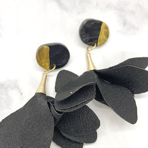 Black and Gold Trumpet Earrings