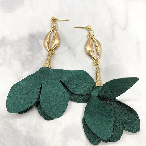 Forest Green Trumpet Earrings