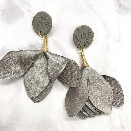 Gray Trumpet Earrings