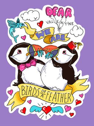 Cute Critters Valentine: Puffins