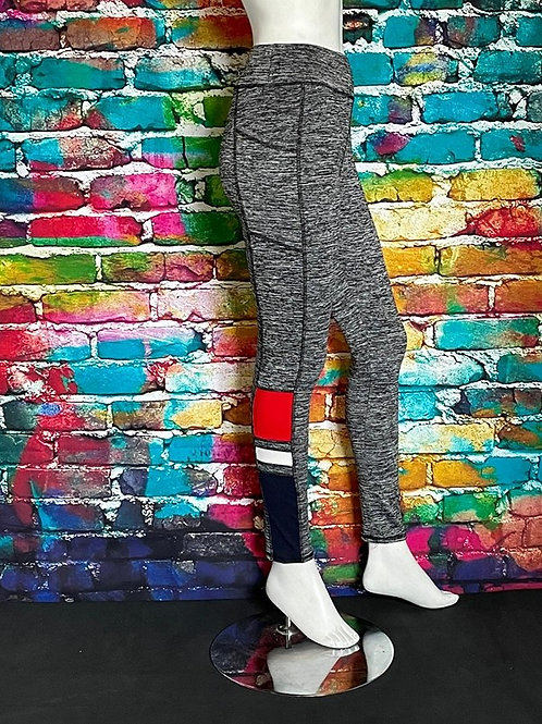 High Waisted Workout with side pockets, Charcoal with Red Accent