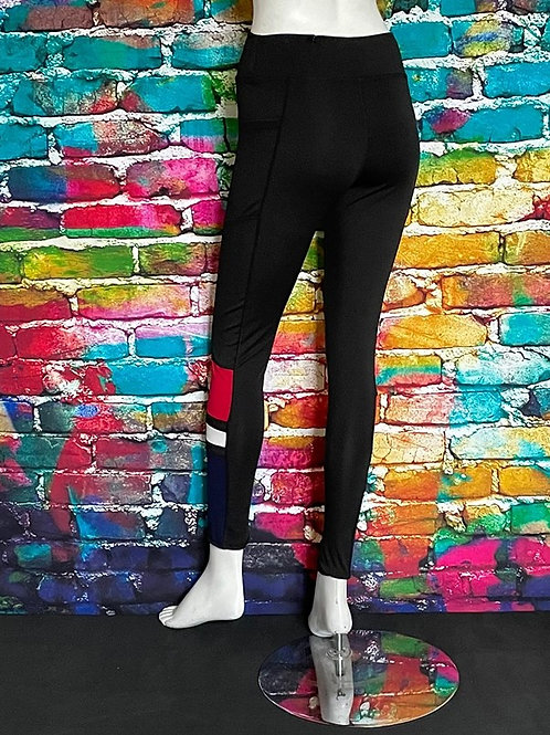 High Waisted Workout with side pockets, Black with Red Accent