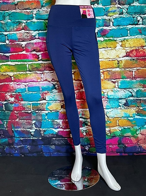 Solid High Waisted Sports Legging With Side Pockets Navy