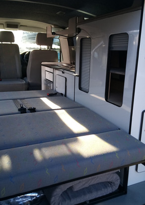 INERTERIOR VIEW OF CAMPER BED CONVERSION