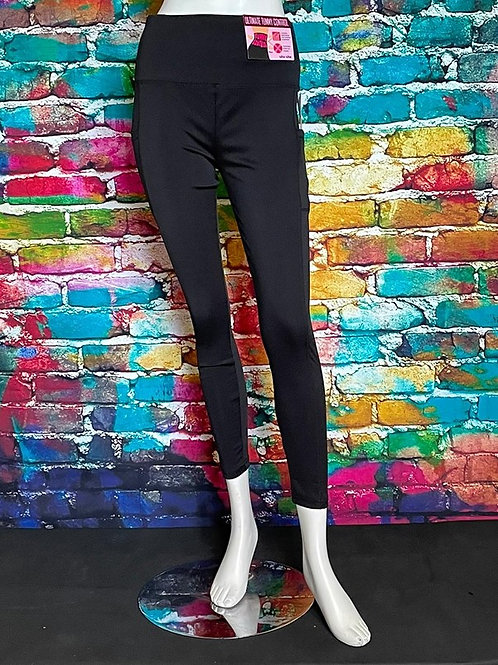 Solid High Waisted Sports Legging With Side Pockets Black