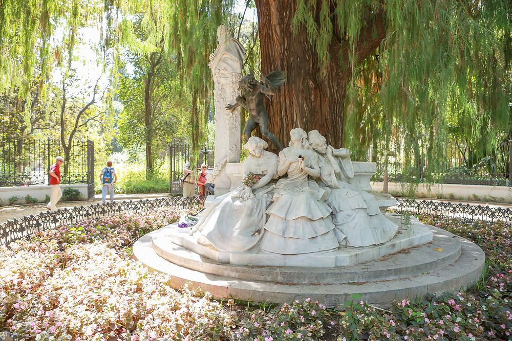 statues, history, Parque de María Luisa, Sevilla, España, Seville, Spain, Rose Wine Photography