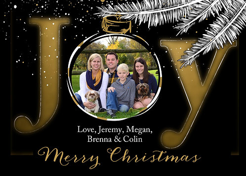 Joy - Ornament - Photo Christmas Card