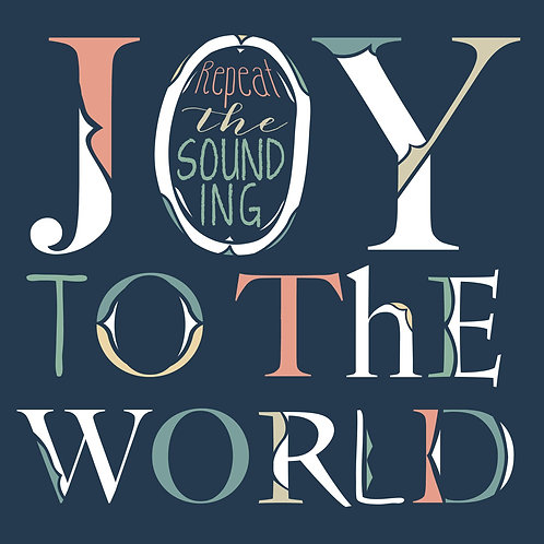 Joy To The World - Navy, Coral, multi colored