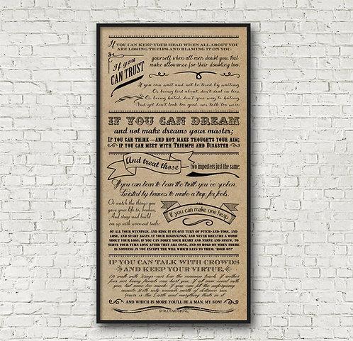 IF poem by Rudyard Kipling - Vertical Print - Choose Kraft, Chalkboard Look, or