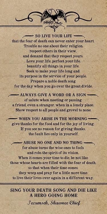 Poem by Tecumseh, American Shawnee Chief