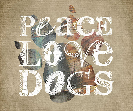 Peace, Love, Dogs Horizontal Typography Print