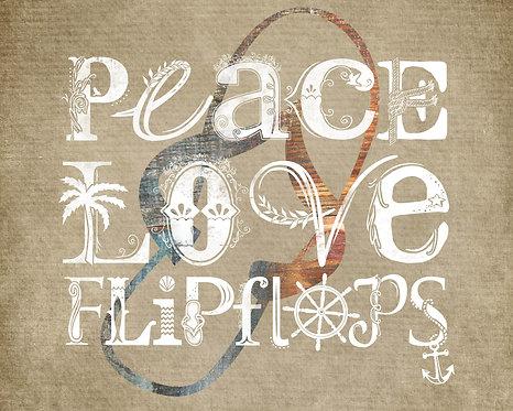 Peace, Love, Flip Flops Horizontal Typography Prin