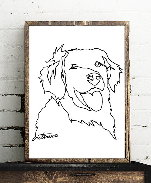 One Line Retriever - Minimalistic Art - Digital Download - High Res Print Yourse