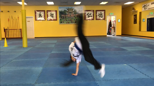 Though a talented gymnast, Euan learned this acrobatic trick at the academy.