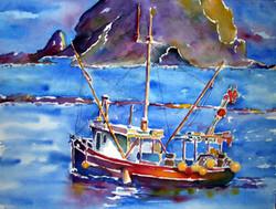 colorful fishing trawler