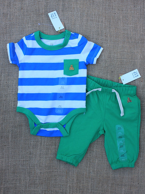 Baby Gap Outfit - Blue & Green - 0-3 months