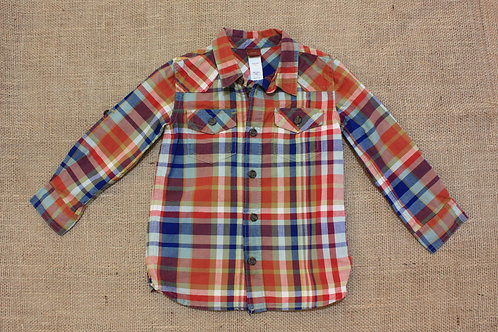 Tea Collection Button Down Shirt - Red - Size 3