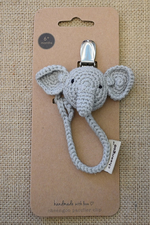 Cheengoo Pacifier Clip - Elephant - Gray