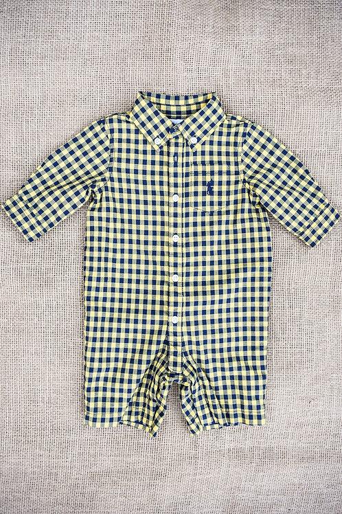 Ralph Lauren Romper - Yellow & Navy - Newborn