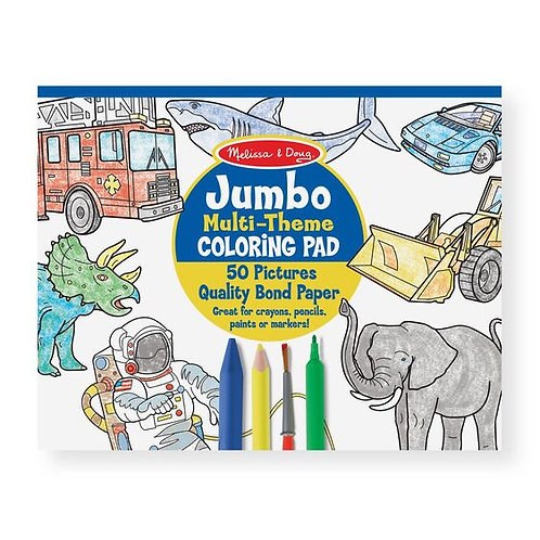 Melissa &  Doug Jumbo Blue Coloring Pad - Space, Sharks, Sports, and More