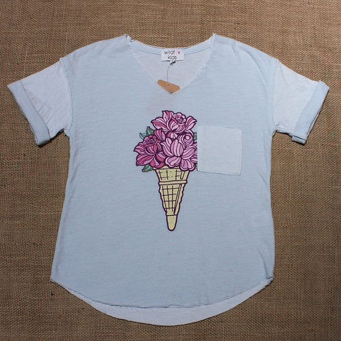 Wildfox Top - Light Blue - Size 7/8