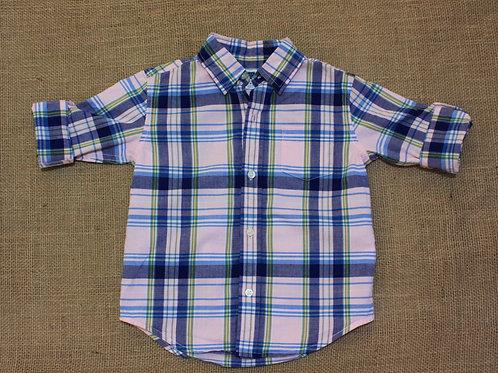 Janie & Jack Button Down Shirt - Blue & Pink - Size 3