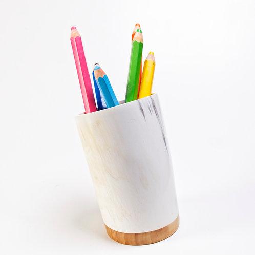 Pot à crayons en corne et peuplier (ref. pc3)