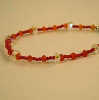 Carnelian beads with Swarovski crystal accents