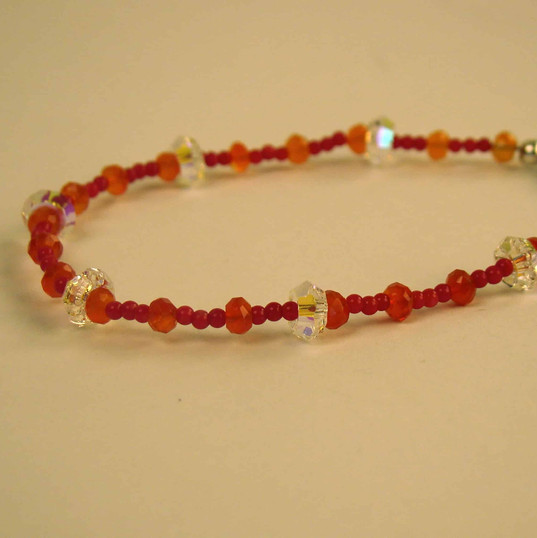 Carnelian beads with Swarovski crystal accents