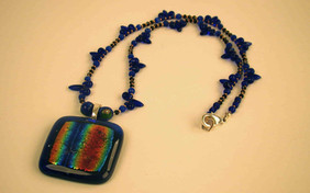 Fused Glass pendant with glass beads