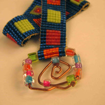 Loom bracelet from size 11 delica beads and bent wire latch