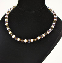 Alternating Amethyst and Opal beads