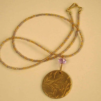 Precious Metal Clay pendant with Swarovski accent and glass beads