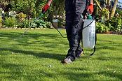 spraying pesticide with portable sprayer