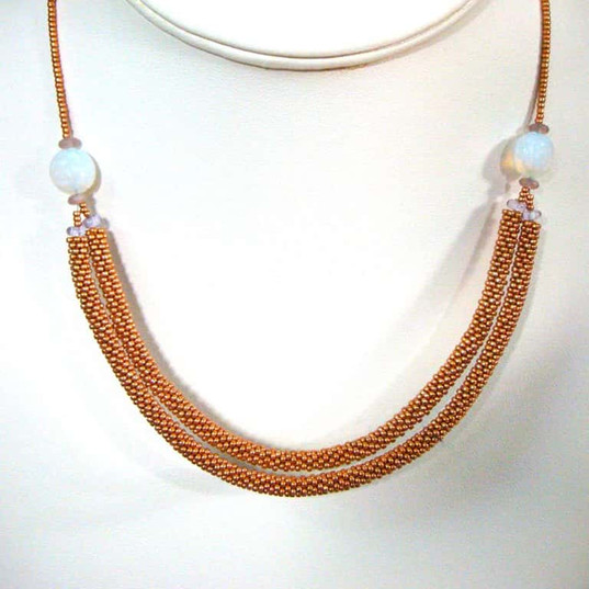 Seed Bead Tubes in elegant necklace with moonstone