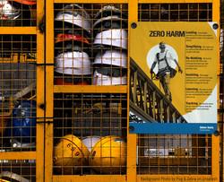 Safety poster on jobsite lockers