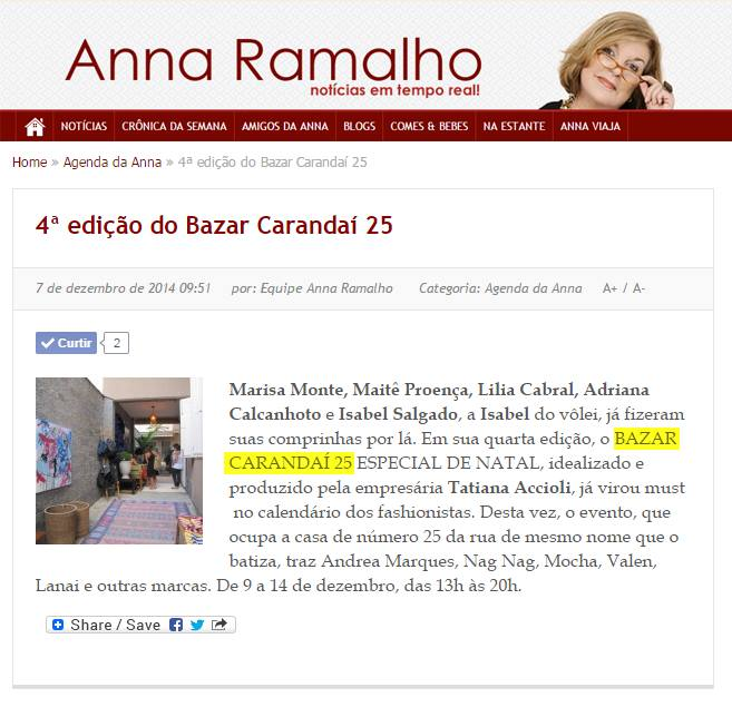 Bazar Carandaí 25 - Anna Ramalho