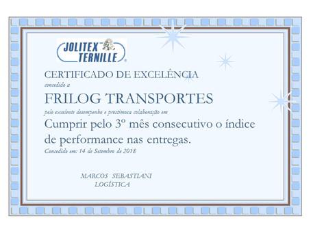 Frilog recebe certificado de Excelência.