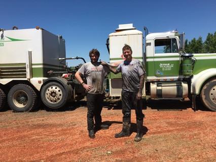 My son RW & I on a hot oil job
