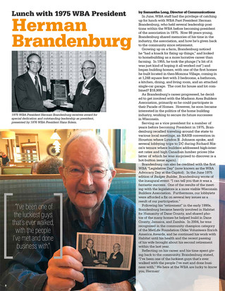 Lunch with 1975 WBA President, Herman Brandenburg