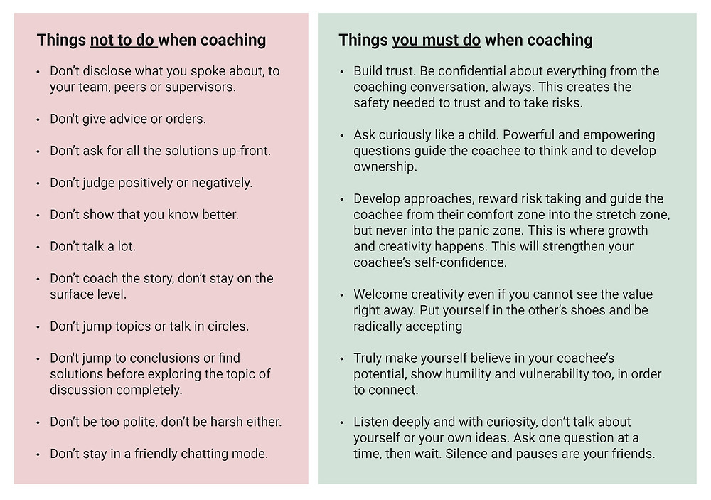 Coaching dos and donts